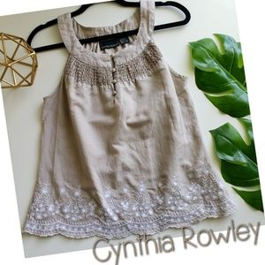 CYNTHIA ROWLEY linen embroidered tank